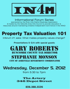 Join to learn about how the 2013 property tax revaluations may affect the cost of doing business in the River Arts District.