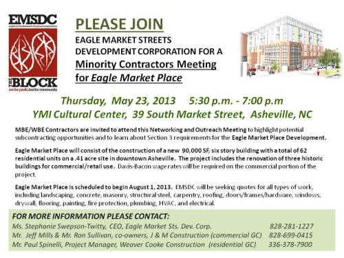 Minority Contractors Meeting for Eagle Market Street